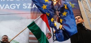 Elod Novak, parliamentary member of Hungarian far-right party Jobbik, burns an EU flag during a demonstration against the European Union, in Budapest