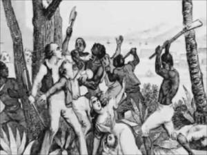Aikalaispiirros Atlantan orjakapinasta.
